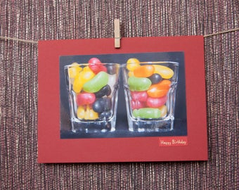 Birthday card, Jelly beans, Husband, Wife, Friend, Personalised, Blank, Greeting, Sweets