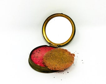 Vintage Avon Rouge Compact - Blush Compact - Avon Collectible - Bamboo Design - 1940s - Pagoda Red - Makeup Case - Cheek Makeup - Gifts