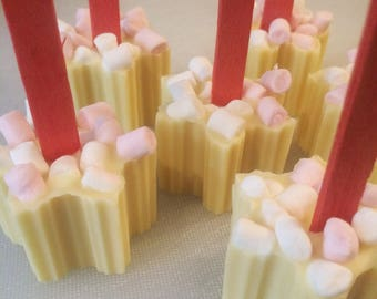 White chocolate snowflake stirrer for hot chocolate. With teeny marshmallows. Gift for Christmas