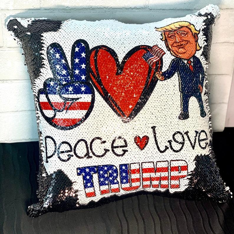 Donald Trump Peace Love Trump Custom Mermaid Pillow Two Tone Sequin Flip INCLUDES INSERT