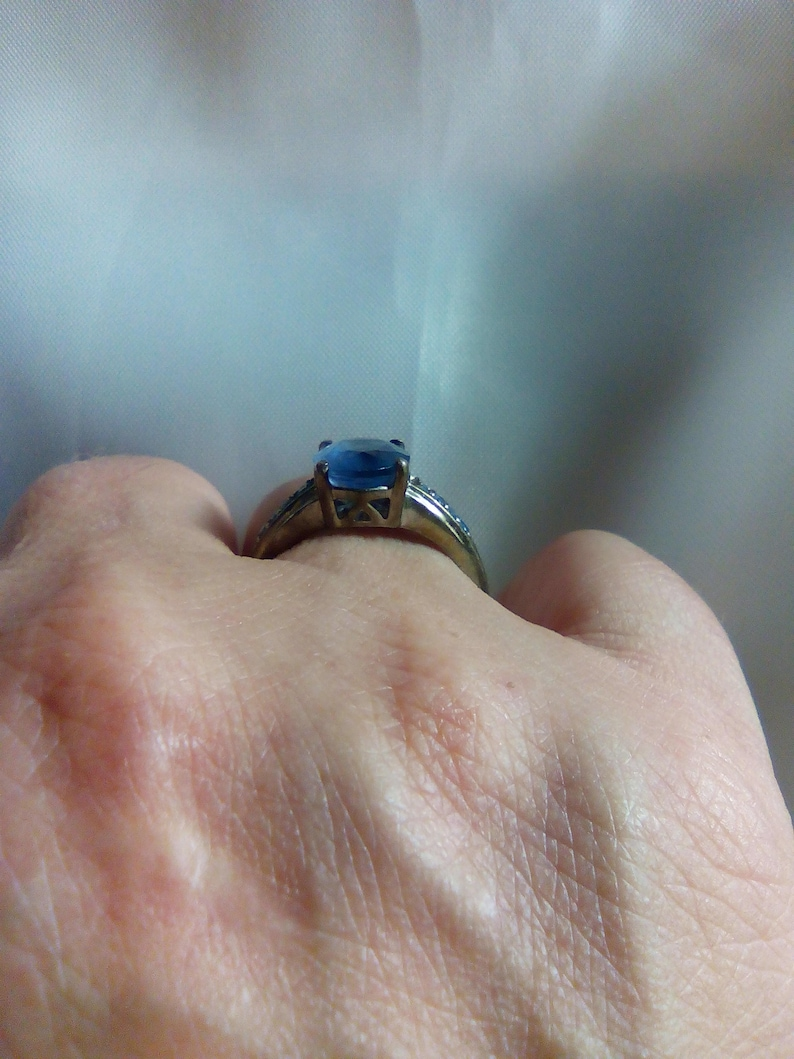 Color Change Blue Fluorite and Sterling Silver Ring OOAK