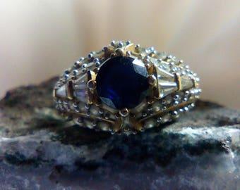 Sapphire and White Topaz Vintage Victoria Wieck Ring September Birthstone