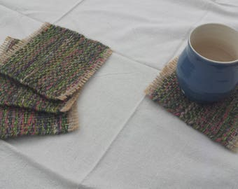 Mug Rugs, upcycled handwoven coasters, green, pink, purple and beige drink coaster gift set
