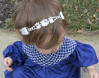 White Lace Headband - Princess Headband - Rhinestones Hair Accessory - Crystal Baby Headband