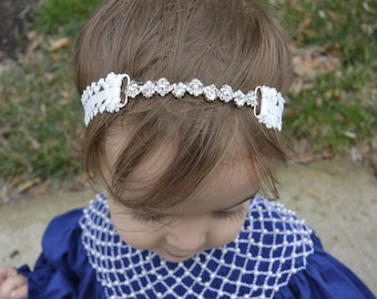 Lace and Crystal Baby Headband - White Headband with Rhinestones - Silver Princess Headband