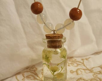 Sparkly Real Baby's Breath Resin Jar Bottle Necklace