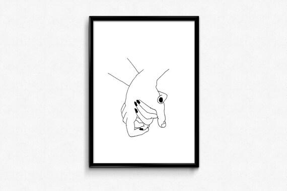 Holding Hands Print Tumblr Print Female Line Print Minimal Etsy