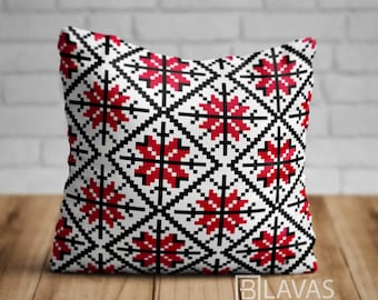 """Square Pillow """"Folk Red"""", cushion, bedding, home decoration,"""
