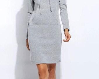 modest grey sweater dress/ long sleeve dress/ knee length dress/ comfy classic dress