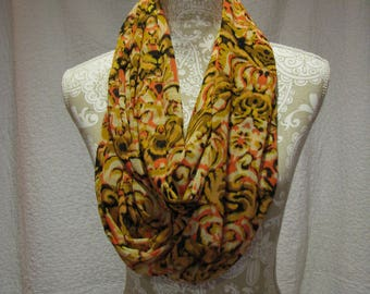 Gold Patterned Infinity Scarf