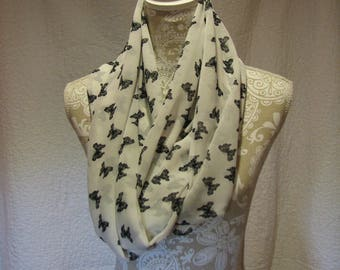 White Infinity Scarf with Black Butterflies