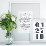 Set of Wedding Prints, Custom PRINTABLE art, Wedding Date Sign, Wedding Gift, Wedding Vow, Anniversary Date, Valentine's gift personalized
