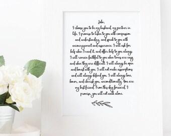 Wedding Vow Print Etsy
