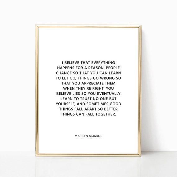 Marilyn Monroe Quotes Marilyn Monroe Decor Fashion Print Etsy