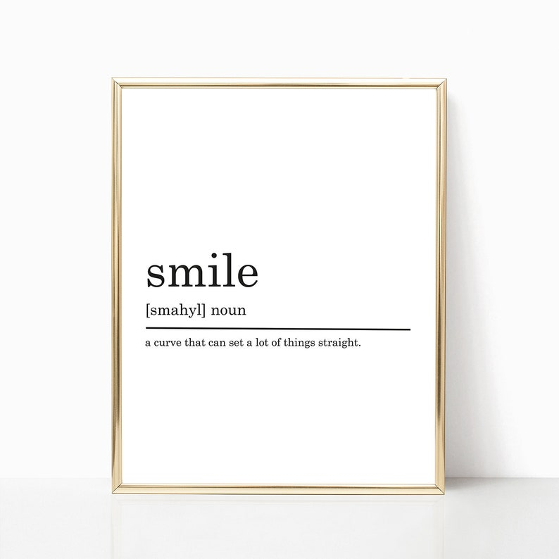image about Printable Definitions identify Smile Definition Print, PRINTABLE artwork, Humorous definitions, Nursery decor, Place of work decor, Nursery poster printable, Printable Poster