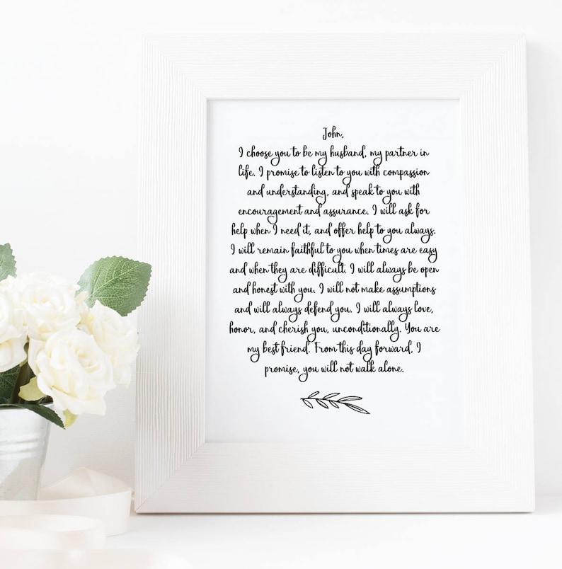 Wedding Vow Print Custom PRINTABLE art First Anniversary image 0