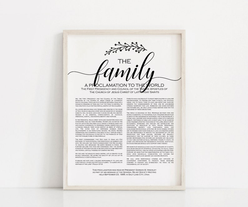 picture regarding Family Proclamation Printable titled The Relatives Proclamation Print, PRINTABLE artwork, LDS Household Proclamation print, Household decor, printable, electronic obtain
