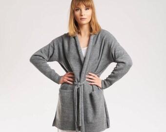 Grey wool cardigan Warm loose sweater cardigan Wool knitted women cardigan Long gray sweater Soft kimono cardigan Gray knit cover up