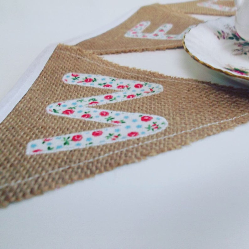 Lettered hessian bunting image 0