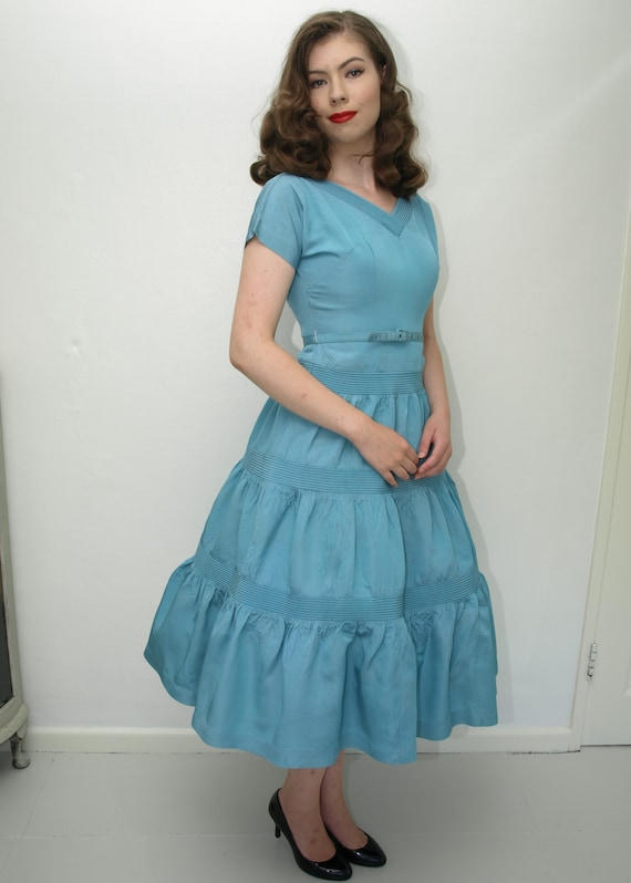 SALE! 1950's PARTY DRESS, light blue, fit and flar