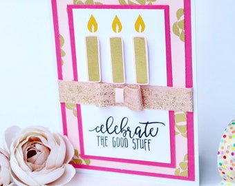 Pink and Gold Candle Birthday Card (Blank)