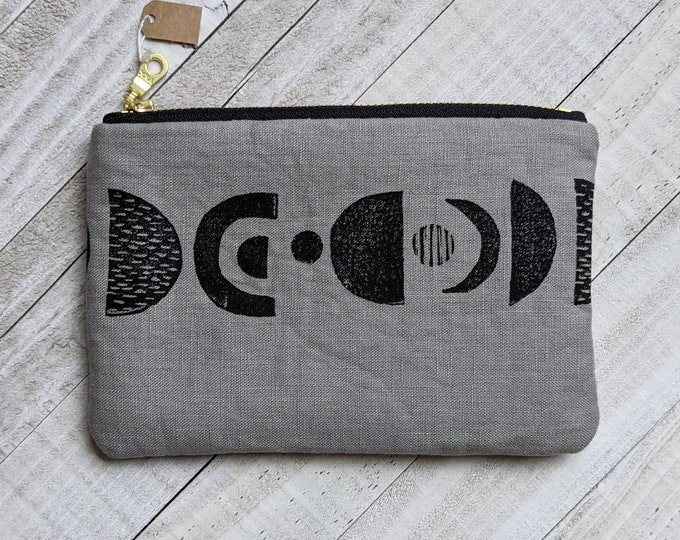 Planetary Alignment Small Flat Zip Pouch - Gray