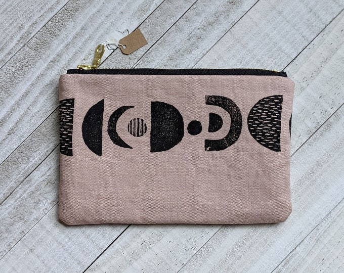 Planetary Alignment Small Flat Zip Pouch - Blush