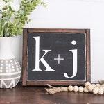 Initials mini sign - vintage chalkboard look