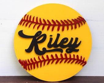 3D softball sign - softball decor -girls room decor