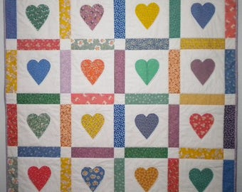 Handmade Hearts Design Baby Quilt, Applique Baby Quilt, Baby Shower Gift, Baby Blanket, One of a Kind Quilt, Toddler Quilt, Gender Neutral
