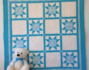 Handmade Baby Quilt, Stars, Polka Dots, Gift for Baby