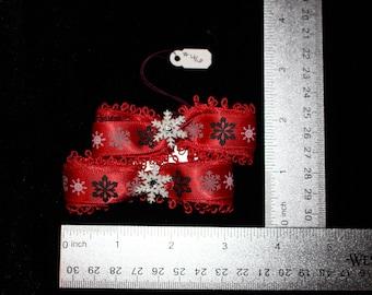 Red & White Snowflake Hair Bows