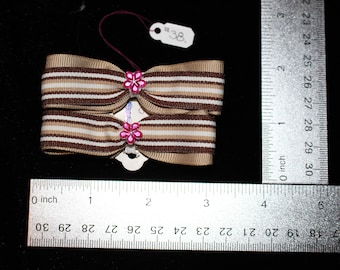 Tan & Pink Flower Hair Bows