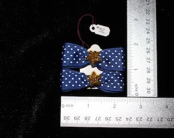 Navy Polka Dot with Star Hair Bows