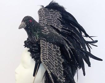 Crow headpiece. Halloween headpiece. Royal Ascot hat. Kentucky Derby hat. Black headpiece. Crystal headpiece.
