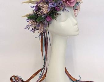 Autumnal headpiece. Oversized flower crown. Elf crown.