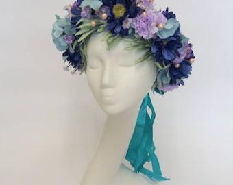 Navy blue headpiece. Oversized flower crown. Bridal headpiece. Teal headpiece.
