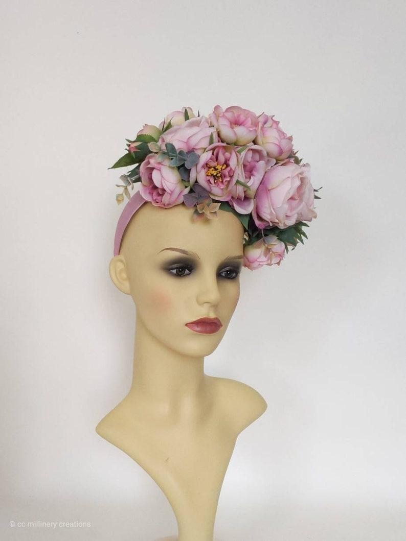 Bridal Headdress Royal Ascot hat. Halo crown Wedding headpiece Kentucky Derby hat Rose Headpiece