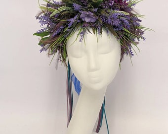 Lavender flower crown. Oversized flower crown. Thistle crown. Wedding headpiece.