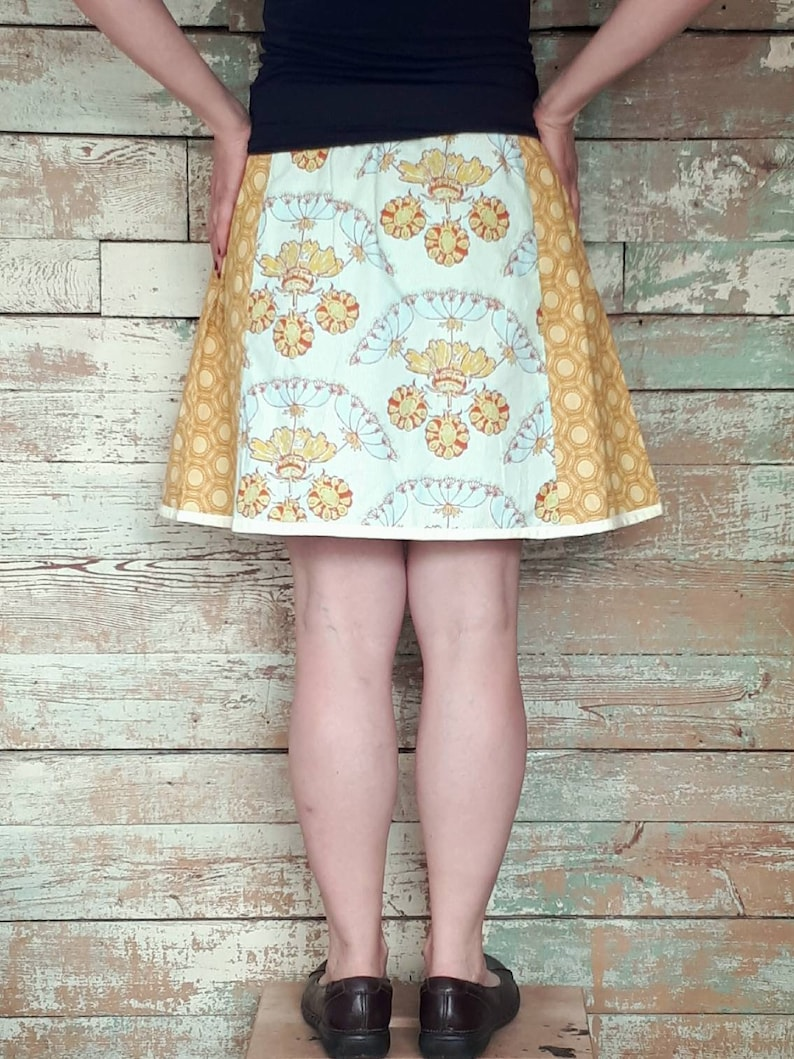 XL Spring and Summer Skirt with Vintage Fabric adjustable waist size M