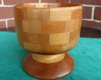 Handmade Signed Turned Wooden Pedestal Bowl