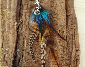 Solitary earring with natural ethnic tribal style Peacock feather