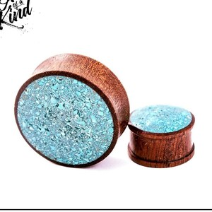 Price per plug Sapele stretcher gemstone gauges 10mm-100mm - handmade wood /& stone plugs M99 custom Ruby Sunburst crystal quartz