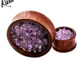 Purple Amethyst Wooden Mahogany Custom Plugs and Tunnels Ear Stretchers 10mm-100mm Real Gemstones Sapele Ear Tunnels and Gauges