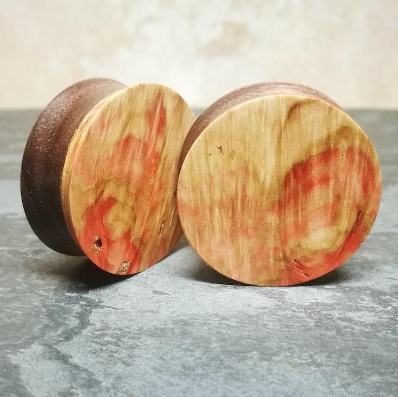 32mm Double sided pink burl /& walnut custom plugs PAIR wood and resin gauge tunnel taper crystal gemstone handmade handcrafted plugs blue