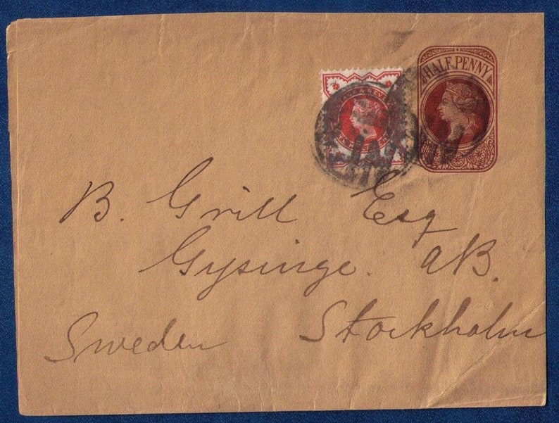 1887 Great Britain Sg 197 & Sg E180 Queen Victoria Cover Half Penny Postal  Stationary To Stockholm