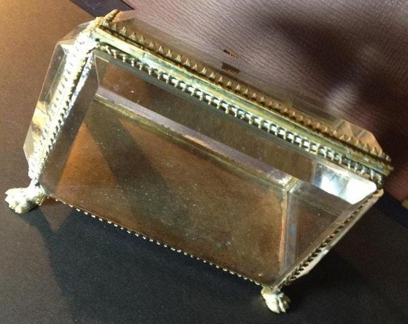 Antique Brass /& Glass Jewelry Trinket BoxThick Glass hexagonal Glass Edges