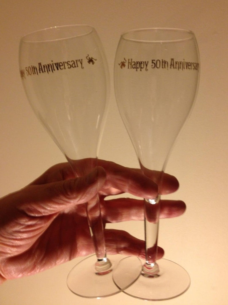 Wine Glasses 50th Anniversary Set 8.5 Tall x 3w Perfect With No chips No cracks Pristine /& Crystal Clear!!