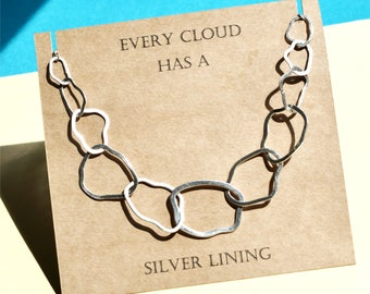 625a0d648 Sterling Silver Cloud Necklace, every cloud has a silver lining necklace,  links necklace, statement necklace, hoop necklace, cloud necklace