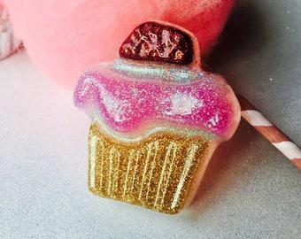 Retro Glittery Cupcake Brooch